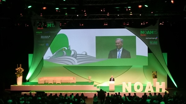 """Very inspiring keynote by Google's @ericschmidt at @noahconference sharing """"wow moments""""."""