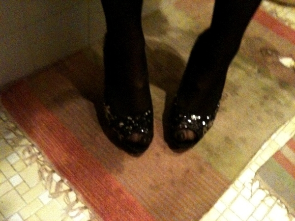 The shoes - peeptoe & sequined