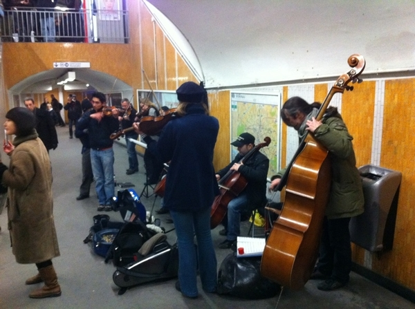 Gotta love Paris:  full orchestra playing Vivaldi for tips in the Metro