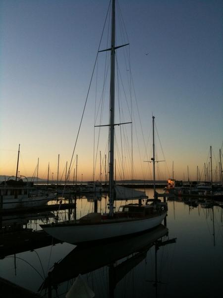 Old wooden sailboat at Shilshoal Bay Marina.