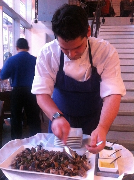 Zaytinia: chef carving smoked/rotisserie-rstd lamb shoulder. Order ahead if you go!!