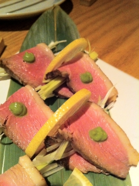 Dinner at REALLY GOOD Sakagura izagaya: roast duck w scallion and wasabi