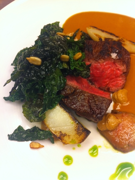 Tasting new Topolo menu ideas: ribeye&marrow w sunflower seed pipian, wilted&fried kale, sunchoke