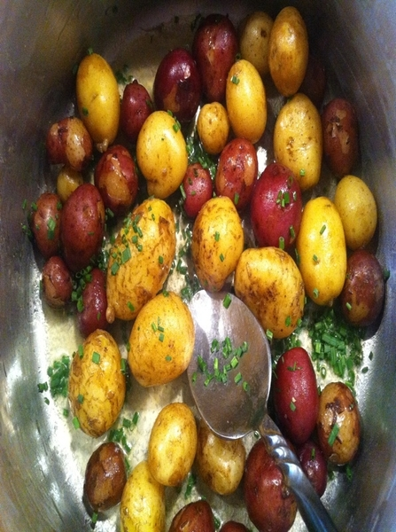 2nite's dinner: also included just dug Nichols new potatoes, Nordic summer butter (get it!), garden chives