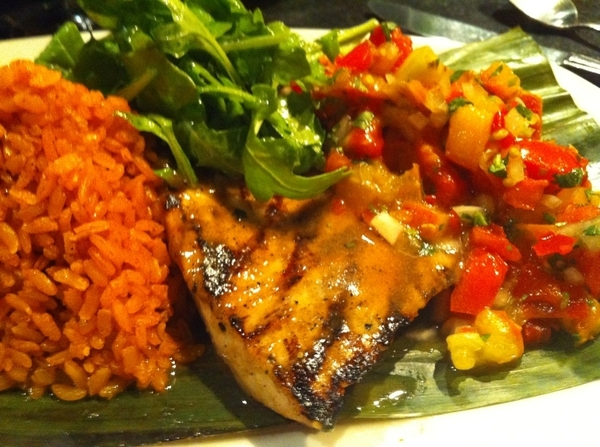 My dinner: wood-grilled swordfish (rstd garlic marinade) with salsa from restaurant's rooftop garden. Happy.