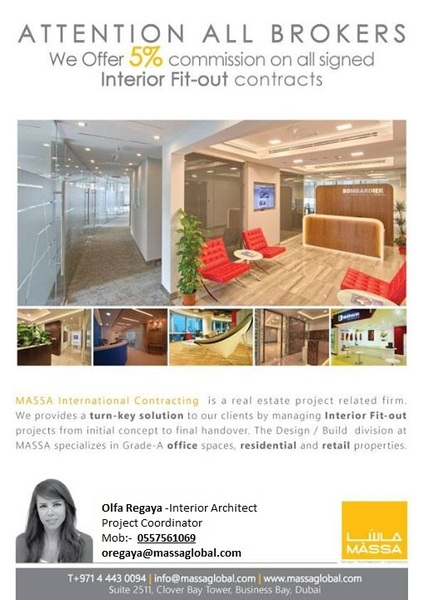 5% Commission to Brokers for Interior Fit-Out Design