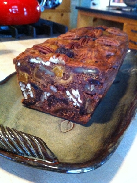 Taking 1st heavenly bites of @GrillGirl 's persimmon-dried fruit fruitcake. No contest: 1 of best thngs on earth.