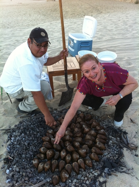 On the beach yesterday: chef Margarita Carrillo&chef of her resto Don Emiliano making Baja clam bake 4 local chefs