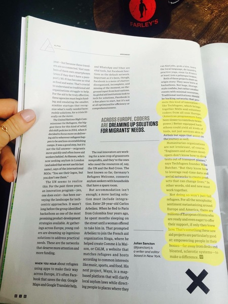 #techfugees is in Wired US magazine! #TechfugeesLIVE @Techfugees