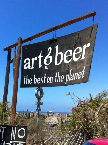 Art & Beer outside Todos Santos:this crazy-cool place is trippy fun.HUGE fresh fruit margs, artist/musician owners