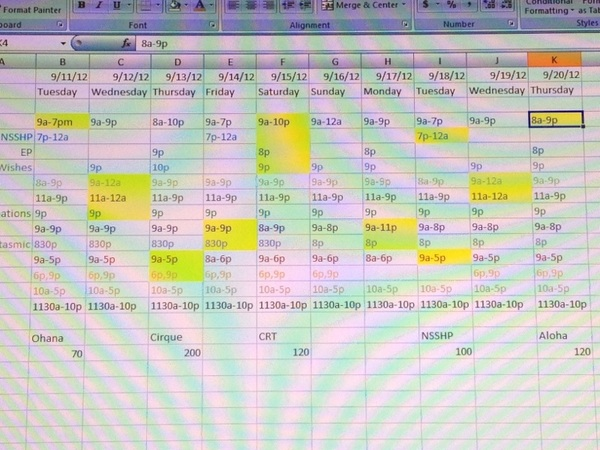 Sign you're OCD... Spreadsheeting your vacation #fb