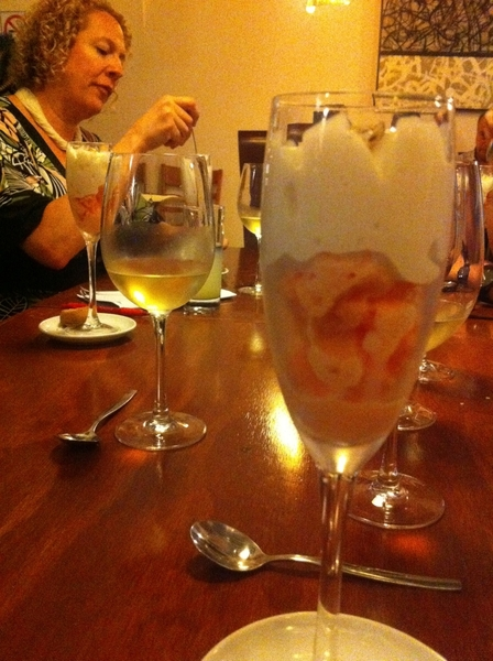 Pitiyona (Oax) highlights: ripe cantaloupe ice w pecans and horchata foam.