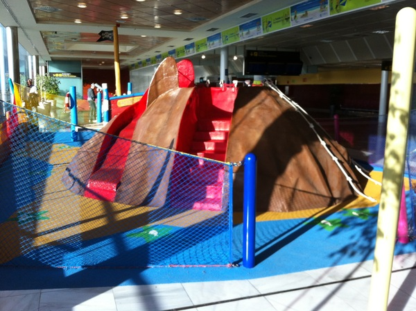Play area at the airport. Spain is VERY child friendly!