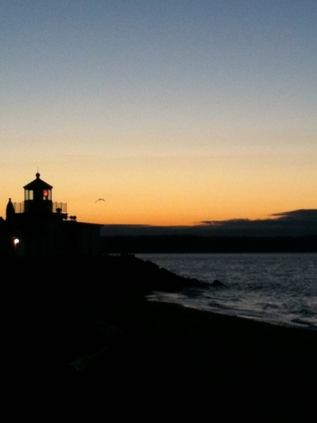 Beach jog at sunset in Seattle. #lighthouse