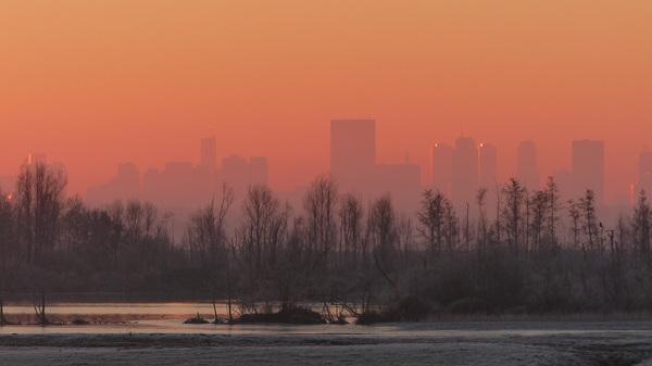 Rotterdam in het eerste ochtendlicht vanmorgen. #buienradar