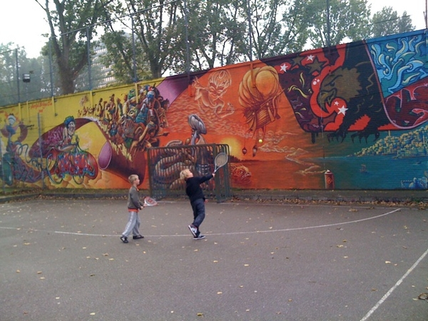 Kids playing urban tennis
