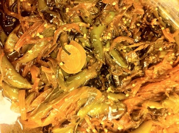 Chiles Toreados: high heat sear (lard) of slashed serranos & white onion; season w lime, salt