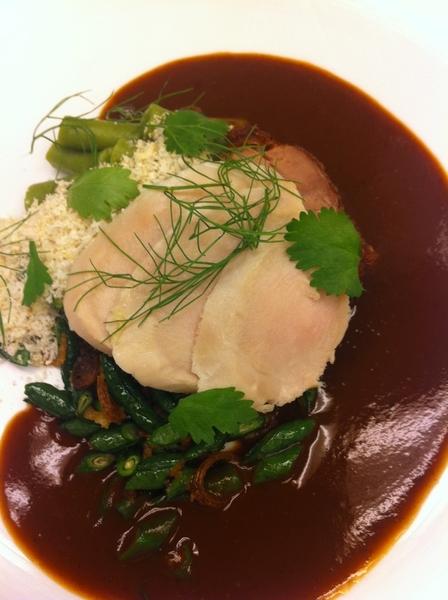 New poss dish 4 Topolo: guinea hen (poached brst, crispy thigh), chestnut-ancho pipian, stovetop tamal, gr beans
