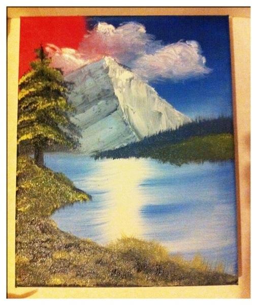 Mijn eerste schilderij: Bob Ross style :-)