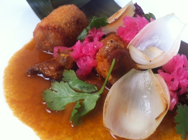 New Topolo Tasting:4th: wood-oven suckling pig pibil, crispy pigs foot, habanero, pickled onion