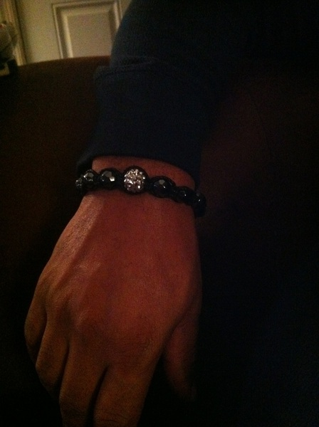 Hubby sporting his handmade gift from me. #Shamballa