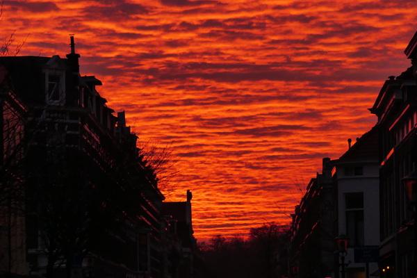 Ondergaande zon Den Haag 17.15u  #buienradar