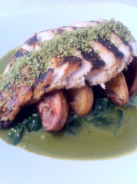 New Frontera menu starts tonight. Last of local (sweet!) winter spinach on this creamy poblano-spin chix dish