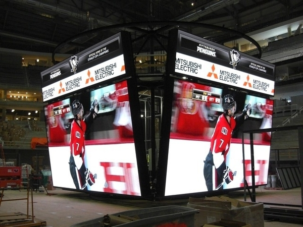 The #Pens new scoreboard at the Consol Energy Center is  functioning and ready to be hoisted up.