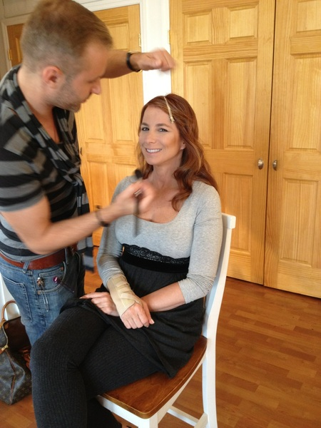 Getting my makeup done for my jewelry photo shoot!