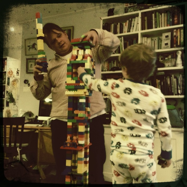 The boys are building a tower