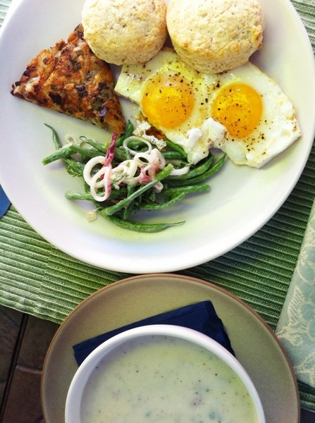 I made brunch: biscuits, sage-suckling ham gravy, Nichols Farm gr bean salad, kinnebeck potato-chive cake, SS eggs