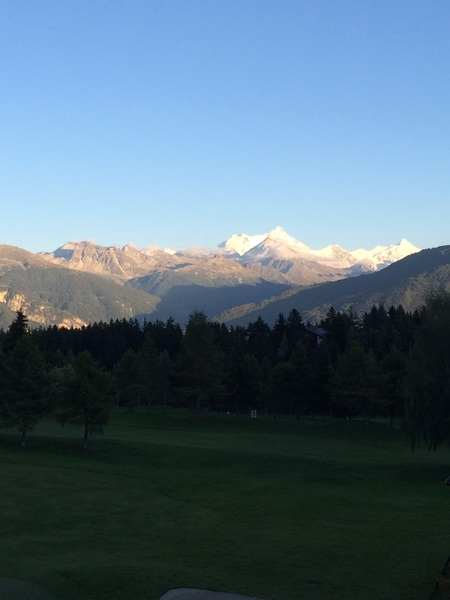 Nice view from my room this week. Stunning up here in Crans Montana. ⛳️⛳️⛳️