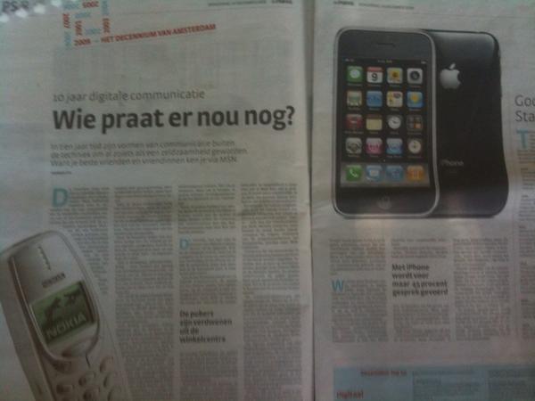 Parool leuk artikel over communicatie 2.0. 3 sms voor elk telefoongesprek