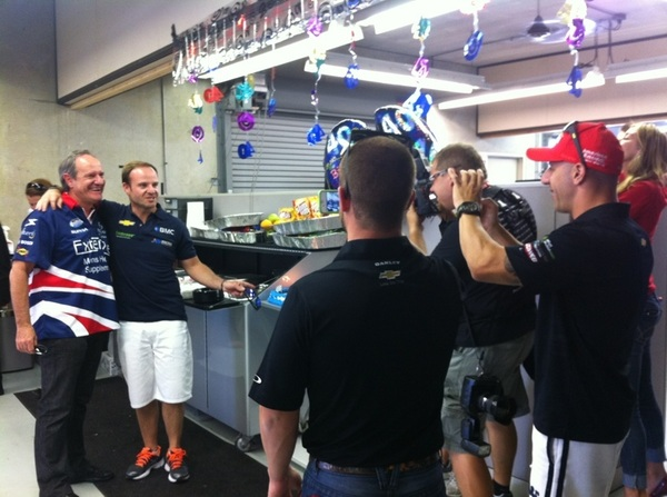 @EJVISO & @TonyKanaan taking pics of @rubarrichello and his dad at the @kvracing garage party! Happy 40th, Ru!