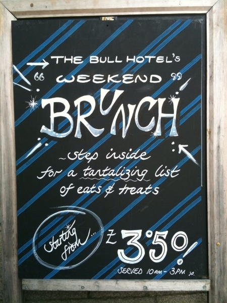 Weekend Brunch at The Bull Hotel this weekend from 10am to 3pm, prices start from just £3.50