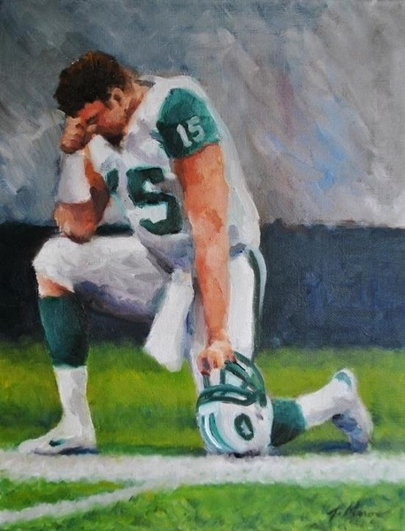 "@si_vault here is my paint something Jets Tebowing painting 11""x14"""