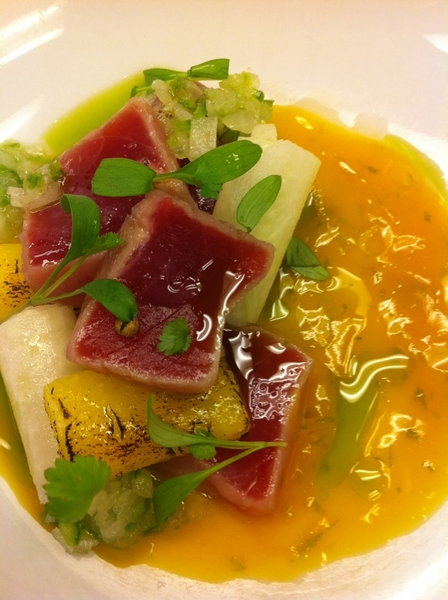 Poss new Frontera: 5-min #1 ylwfin tuna ceviche, lime j&zest, mango, jicama, piña, cilantro oil