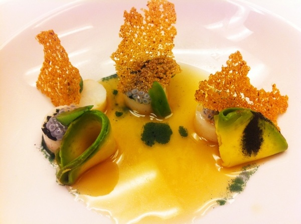 Poss new Topolo dish of all Precolumbian ingred: Shrimp,avoc,spiralina,chia pearls,nopal,shrimp-chanterelle broth