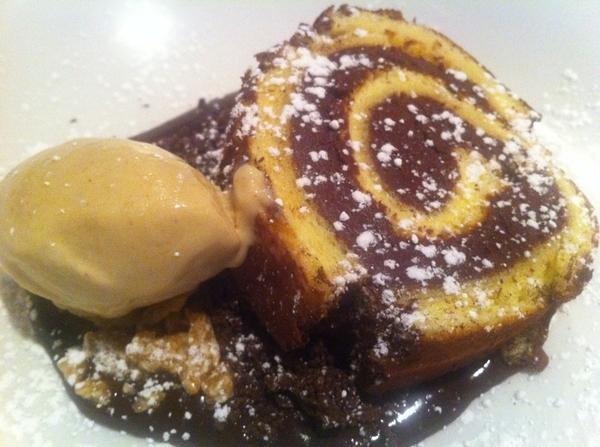 New Frontera menu standout: cake roll w choc-tamarind-sesame filling; tamarind ice cream, sesame palanqueta.