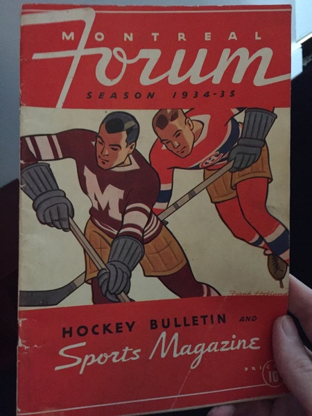 Ok. Last one. Canadiens and Maroons sharing the cover of the Forum program, 1935
