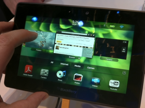 Tablet Spotting at CES 2011: Blackberry Playbook shows how to multitask in high quality