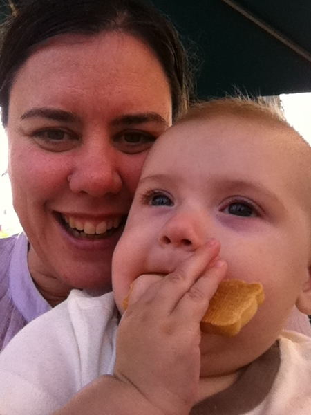 Fletcher of the day: mom and a cookie in downtown Huntington Beach.