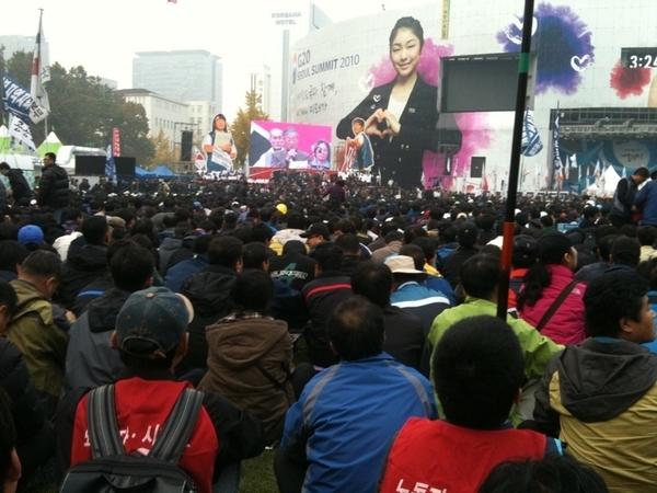 서울광장의 노동자들...