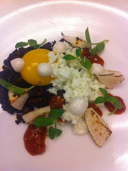 Tasting new Topolo menu ideas: chorizo-blood sausage, egg yolk&white, 3-chile salsa, bacon meringues, turnip