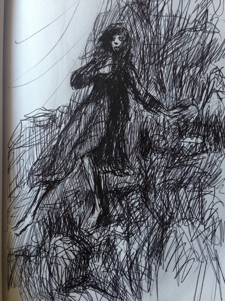 """""""Her Difficult Journey"""" biro on paper"""