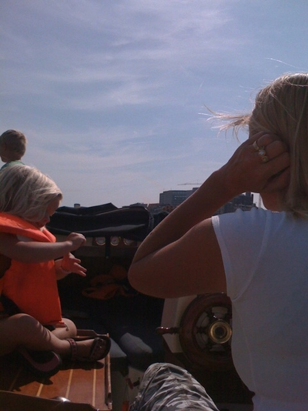 Off to Ijburg w/ our boat for surfing and swinming