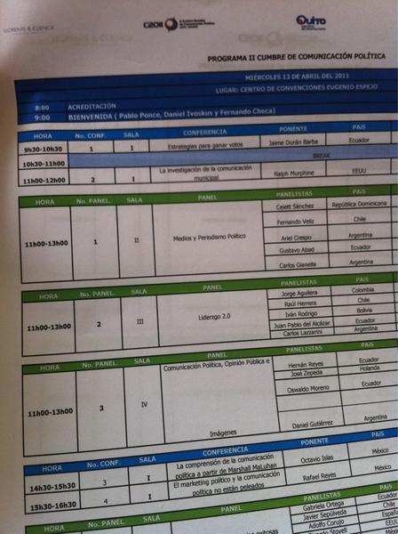 Temas y horarios para seguir la #cumbre2011 durante la mañana (captura). A poco de iniciar en Quito