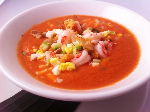 New Frontera Menu hilites: heirloom tomato-poblano gazpacho w royal red shrimp, trad garnishes