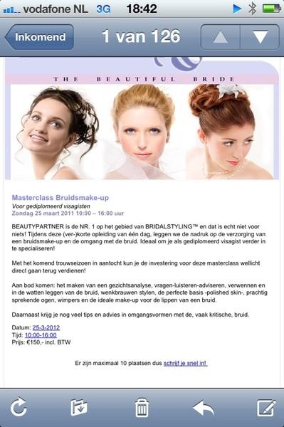 Masterclass Bruids make-up is er weer! Kijk op www.beautypartner.nl #visagie #workshop #bridalstyling