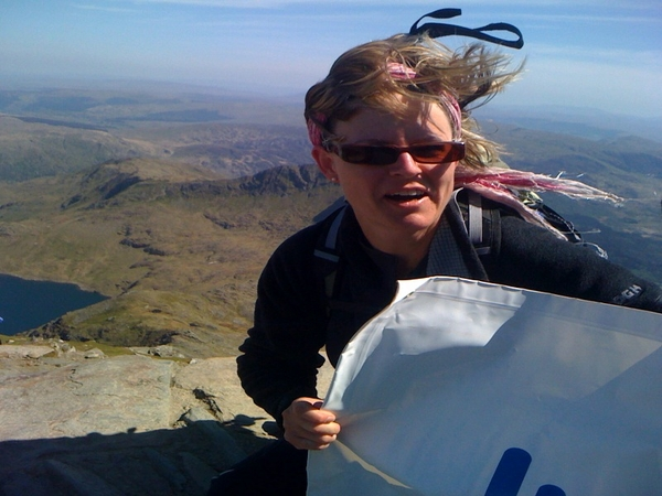 Snowdon summit, Billy being buffeted by the strong wind, we had to crawl down to avoid being blown off